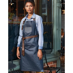 FARTUCH Division Waxed Look Denim Bib Apron With Faux Leather